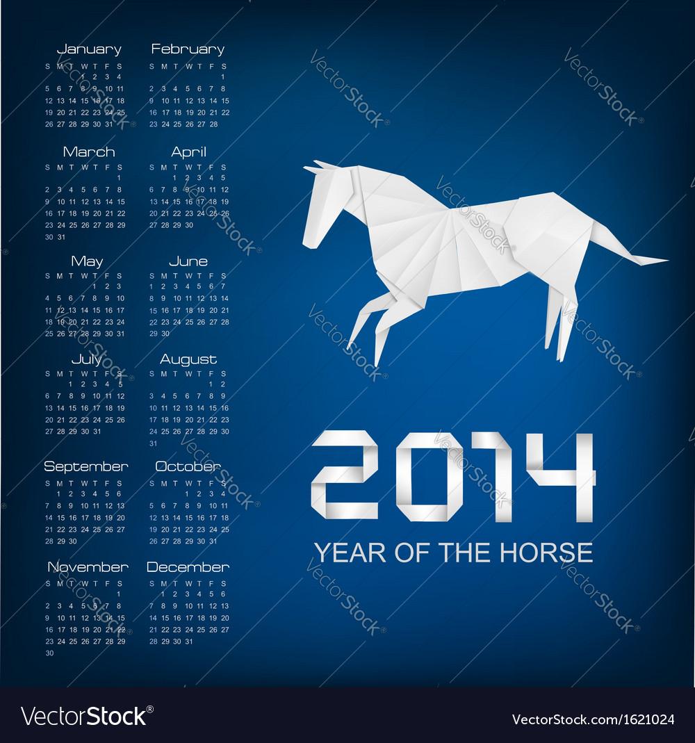 Calendar for the year 2014 origami horse vector