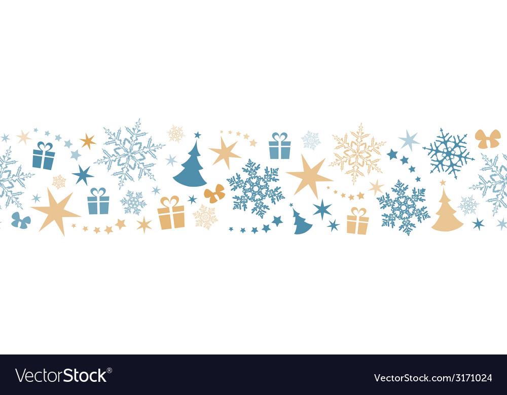 Seamless winter christmas border vector