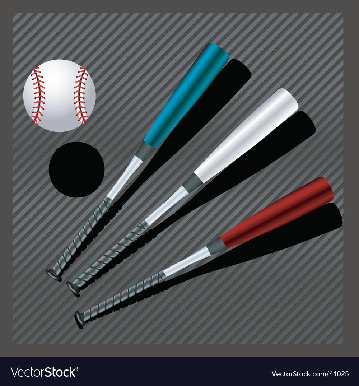 Baseball bats and ball vector