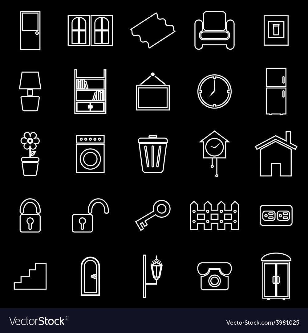 House related line icons on black background vector
