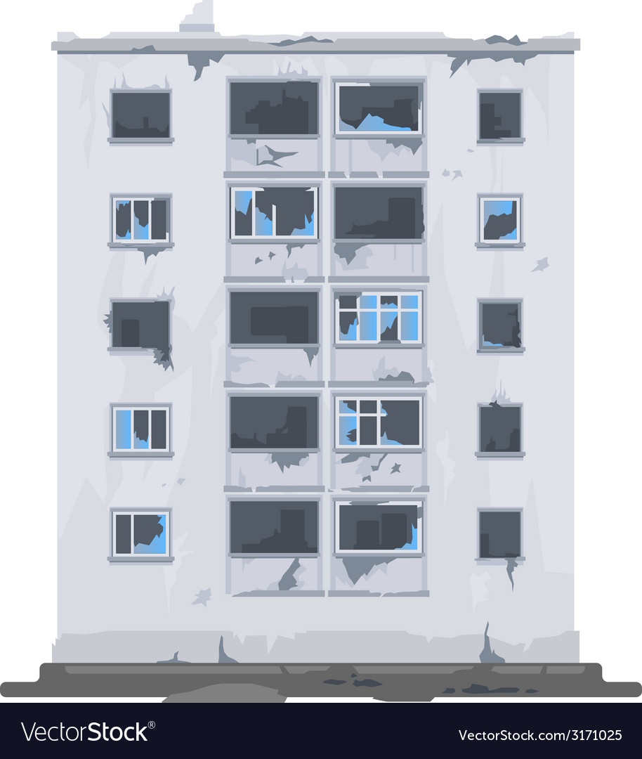 One destroyed building vector