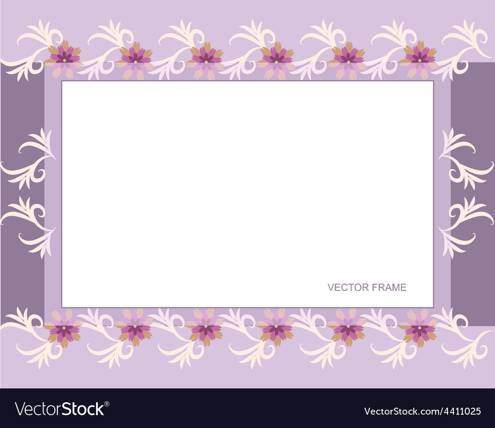 Rectangular floral frame vector