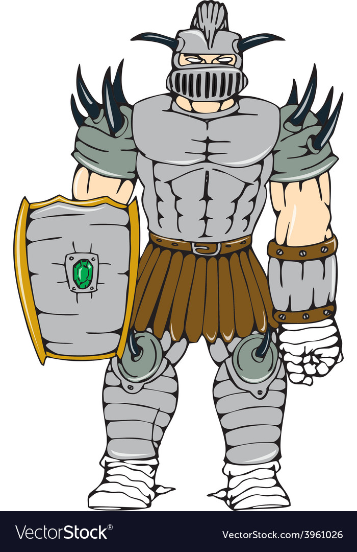 Horned knight full armor shield cartoon vector