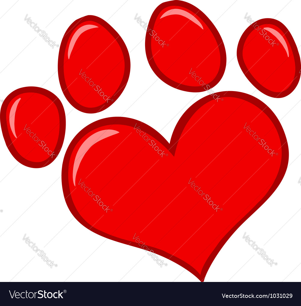 Love paw print vector
