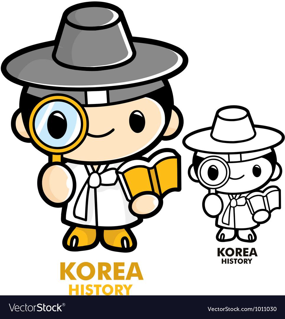 Scholars studying the history of korea vector