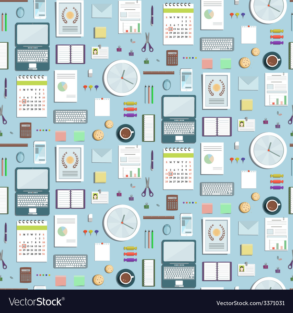 Colored seamless pattern office supplies flat vector