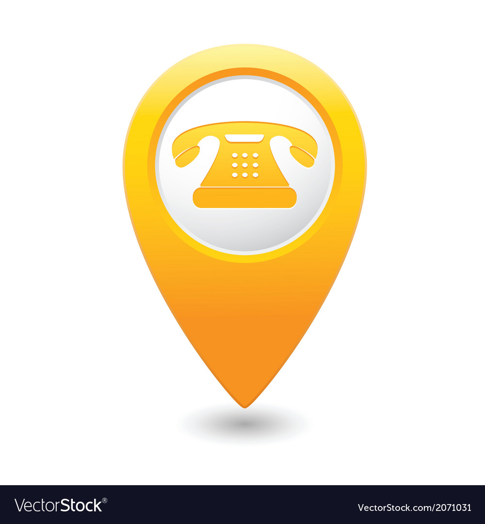 Phone icon yellow pointer vector
