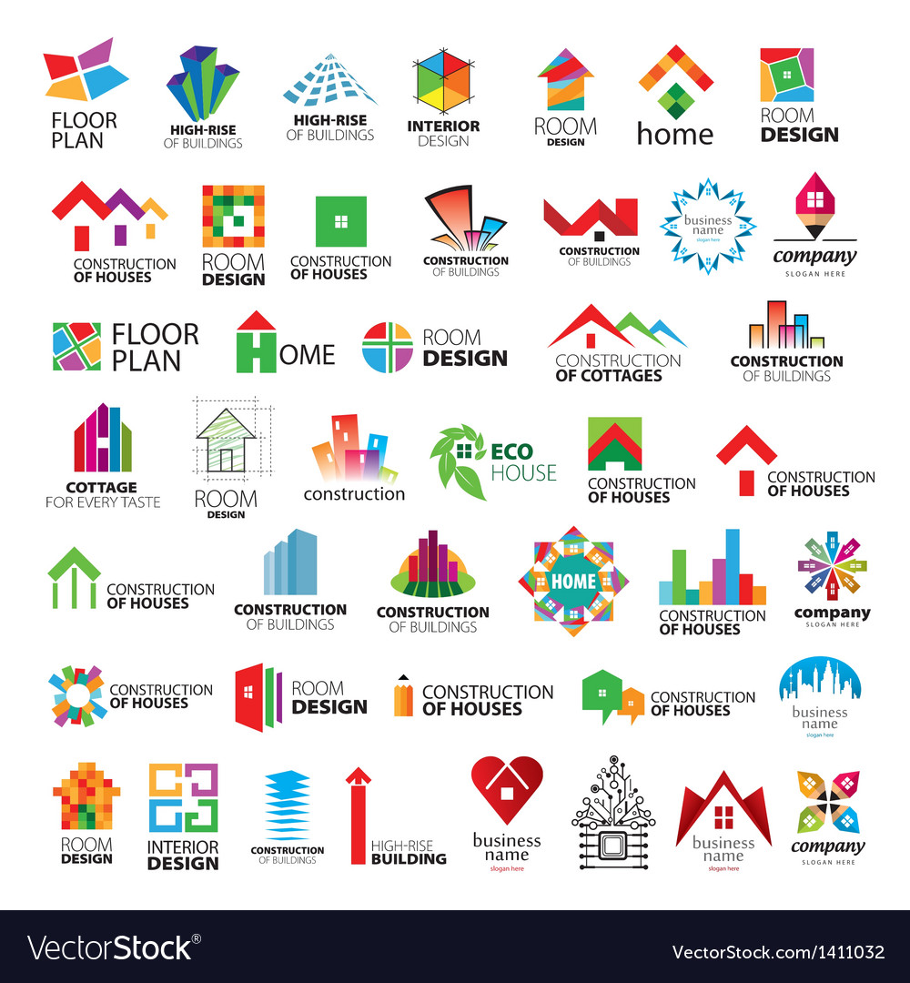 Collection of logos construction vector