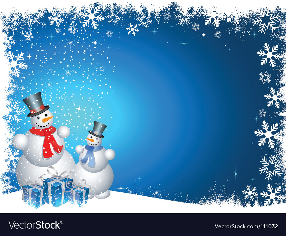 Snowmen with christmas gifts vector