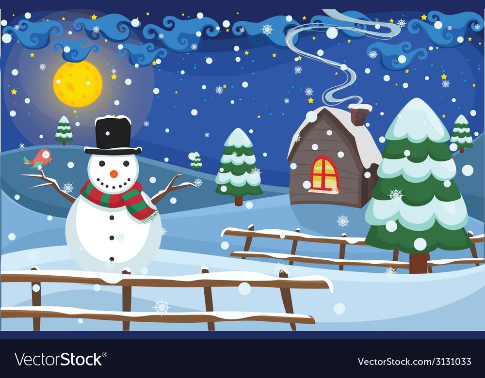 Winter night scene vector