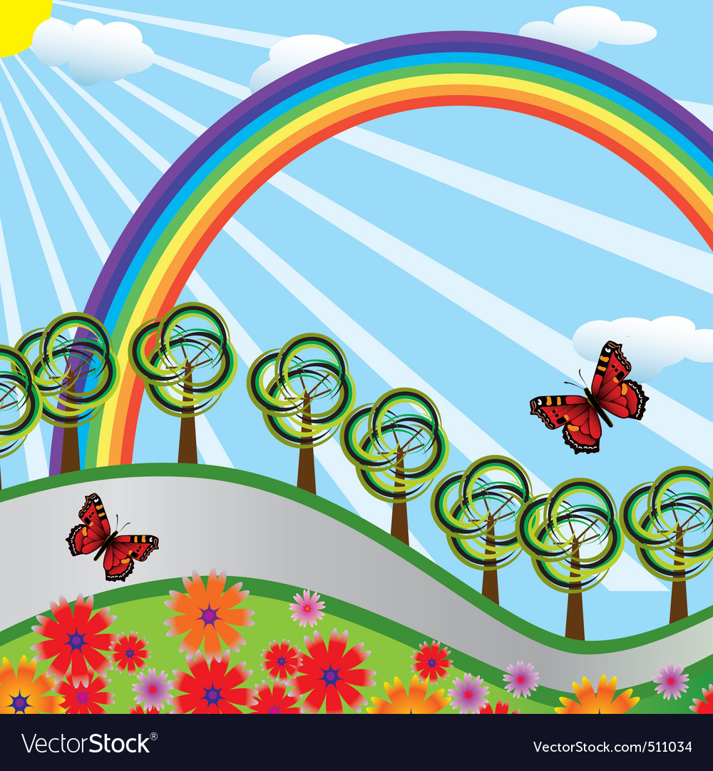 Rainbow over the highway vector
