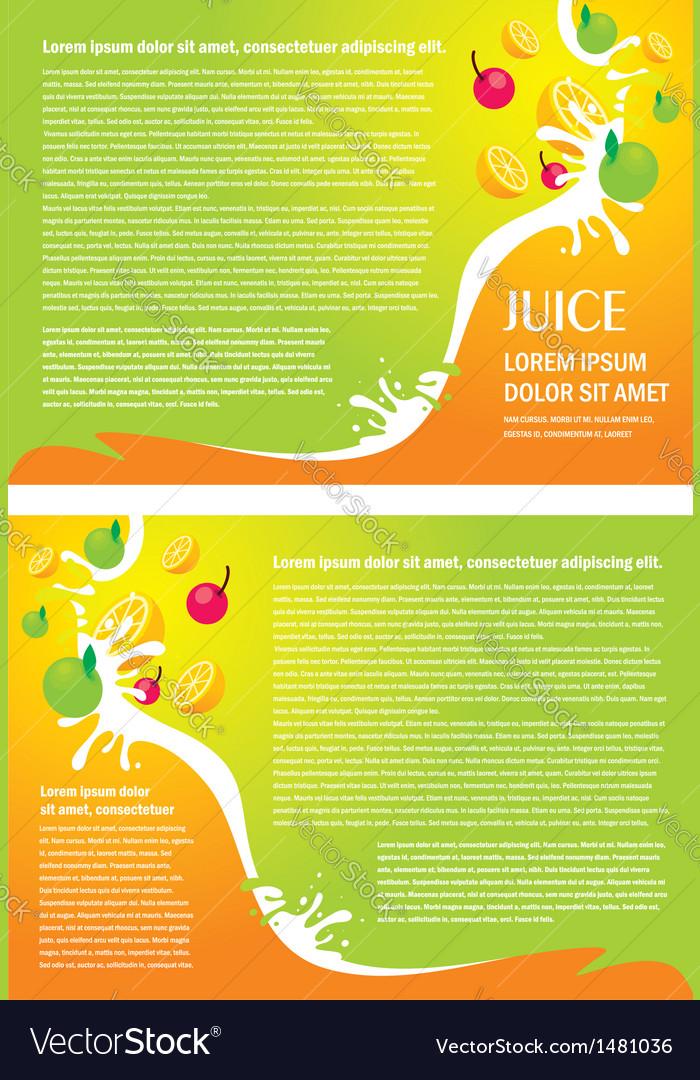 Brochure folder juice fruit drops liquid orange vector