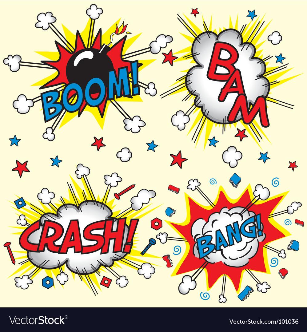 Crash bam boom and bang vector