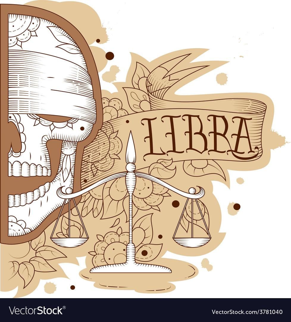 Engraving libra vector