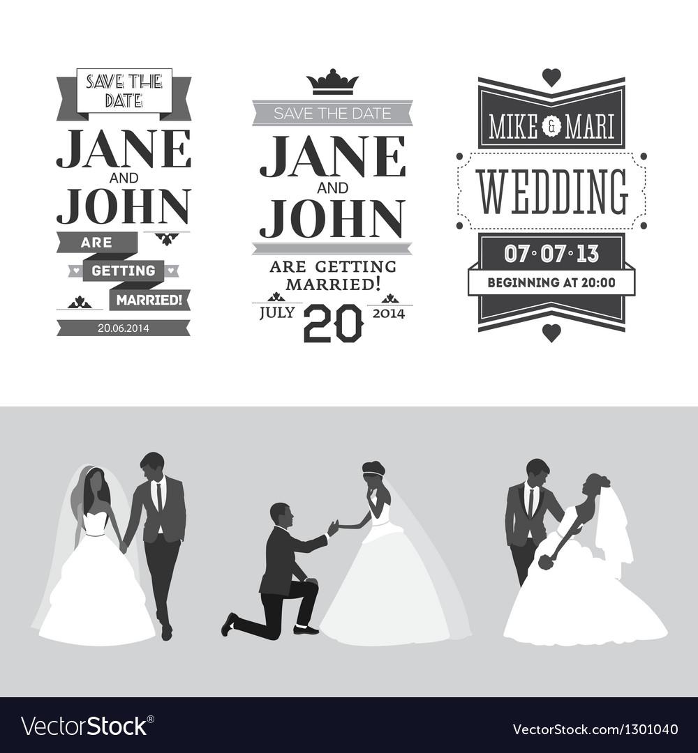 Set of wedding design elements vector