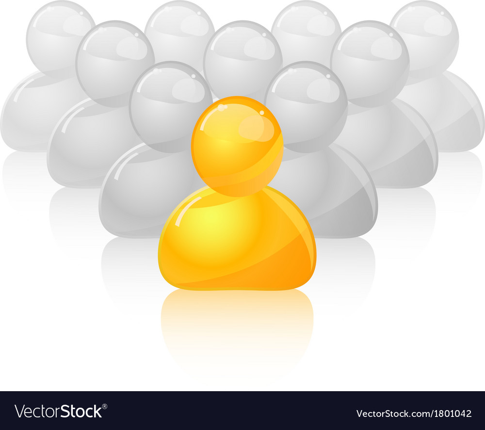 Yellow unique person icon out of the grey crowd vector