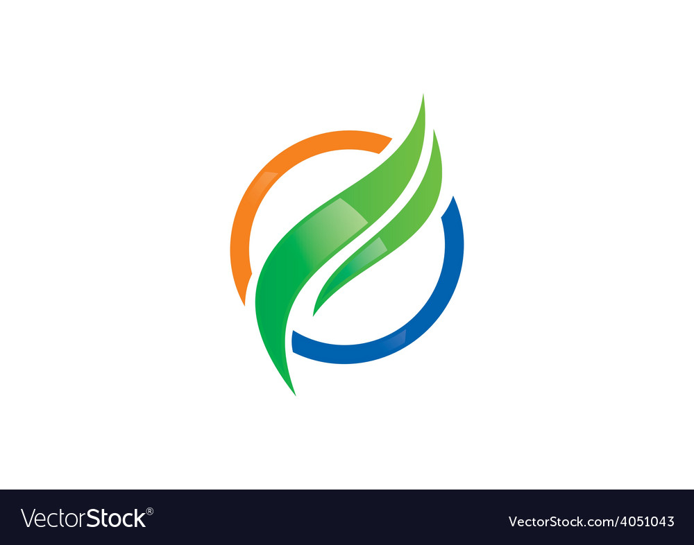 Business finance round swirl logo vector