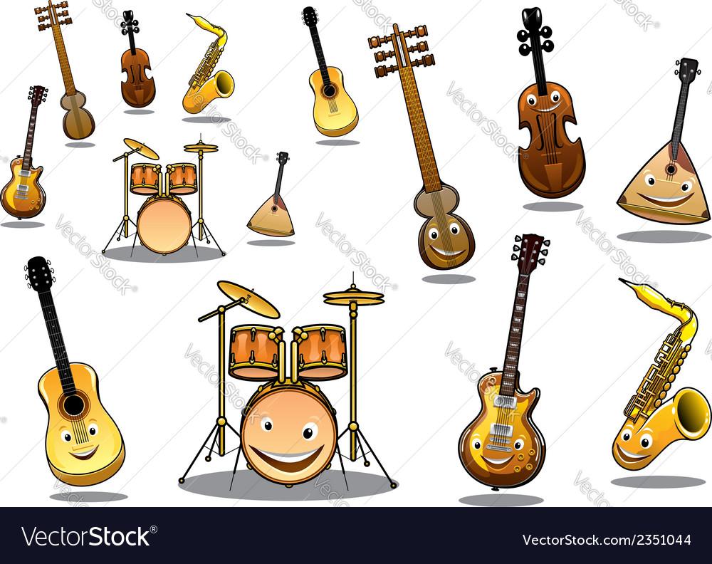 Cartoon musical instruments set vector