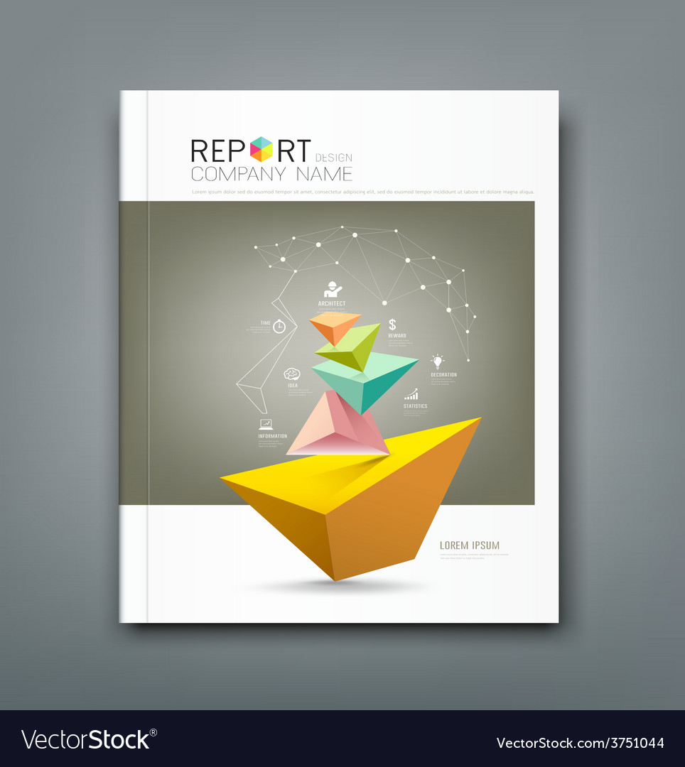 Cover annual report triangle connection vector