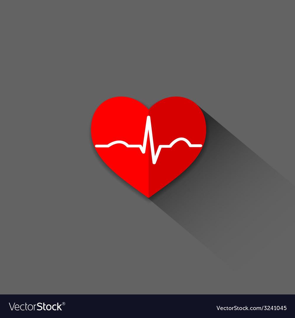 Flat trendy heart beat icon vector