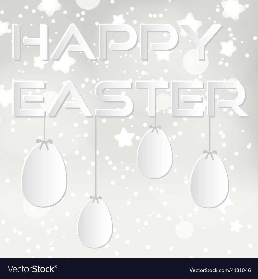 Happy easter from paper with white eggs eps10 vector