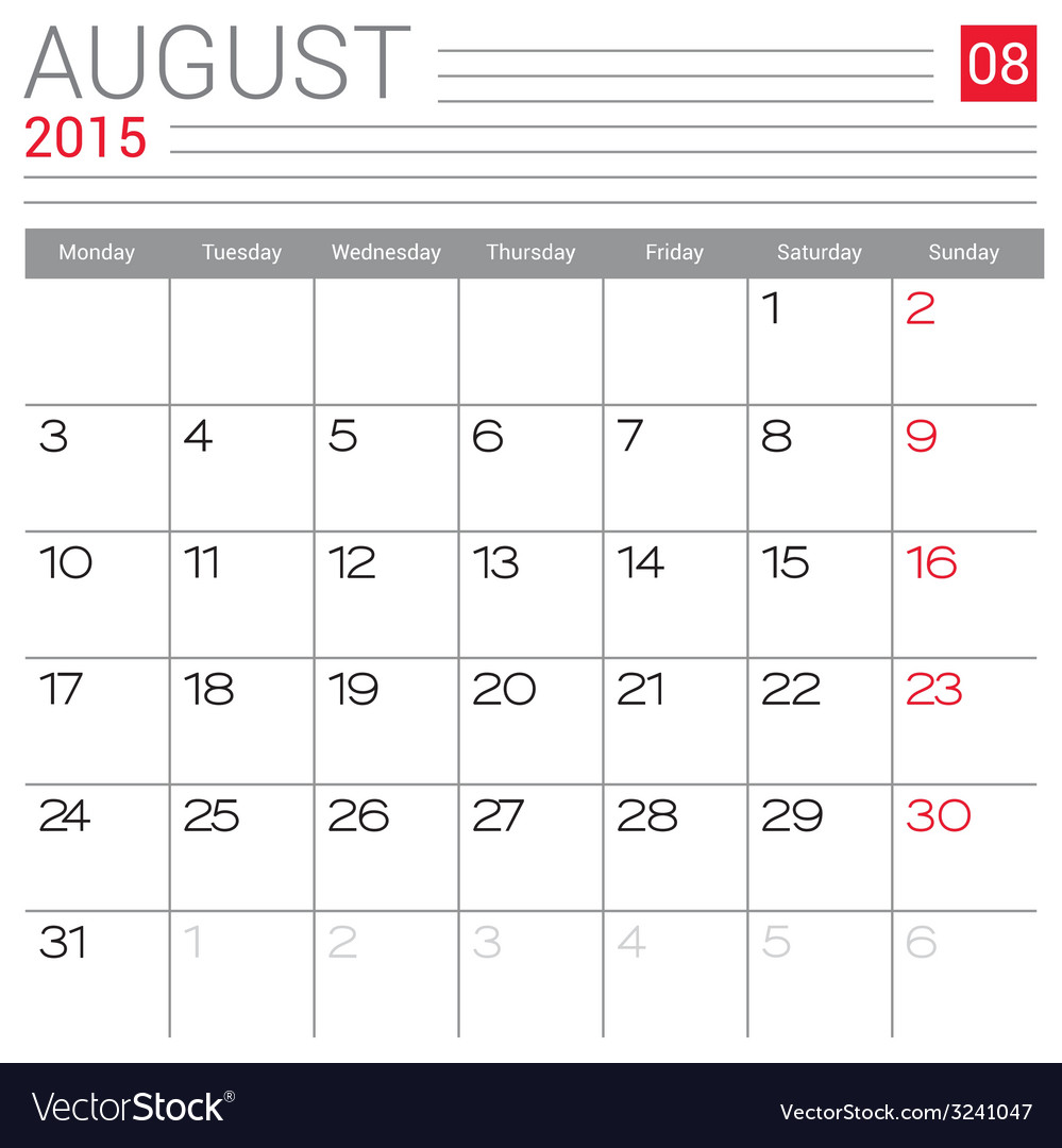 2015 august calendar page vector