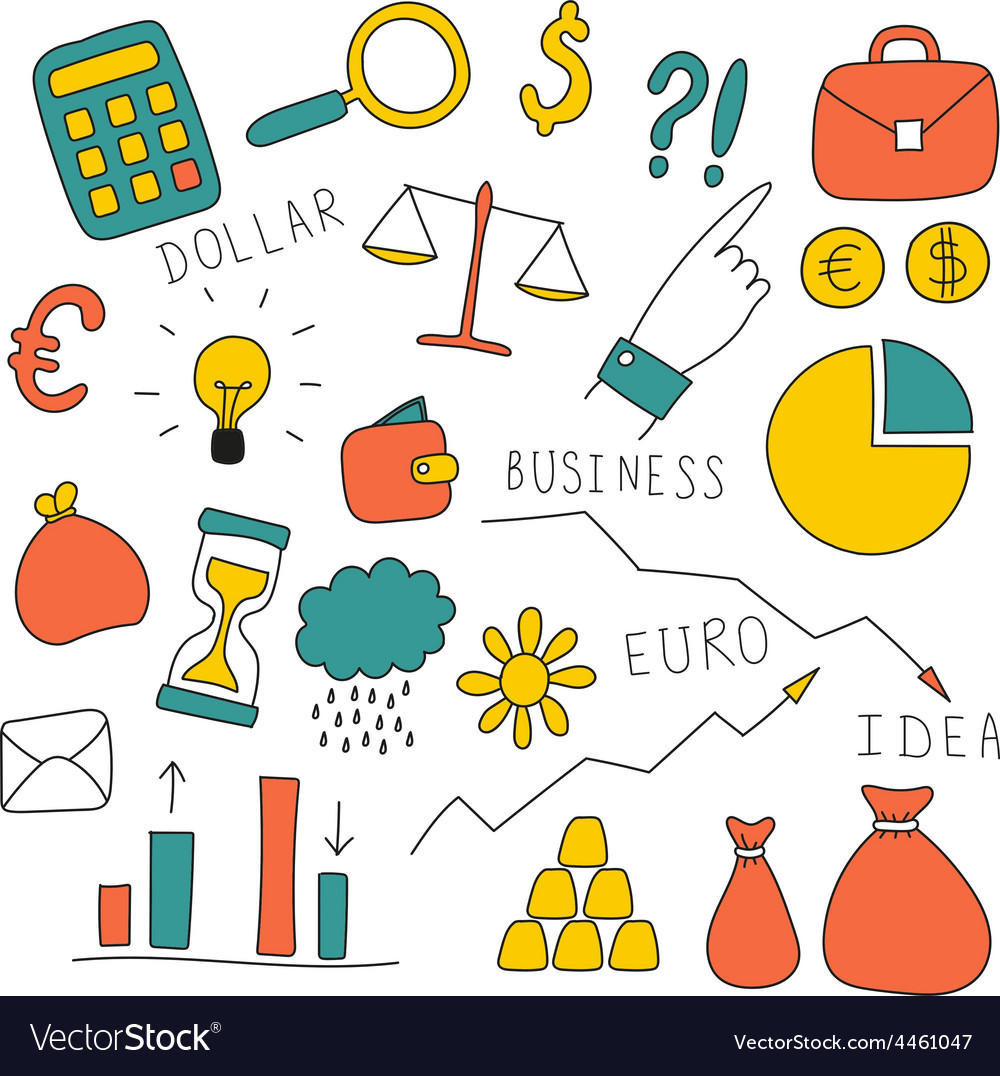 Set of doodle business and finance elements vector