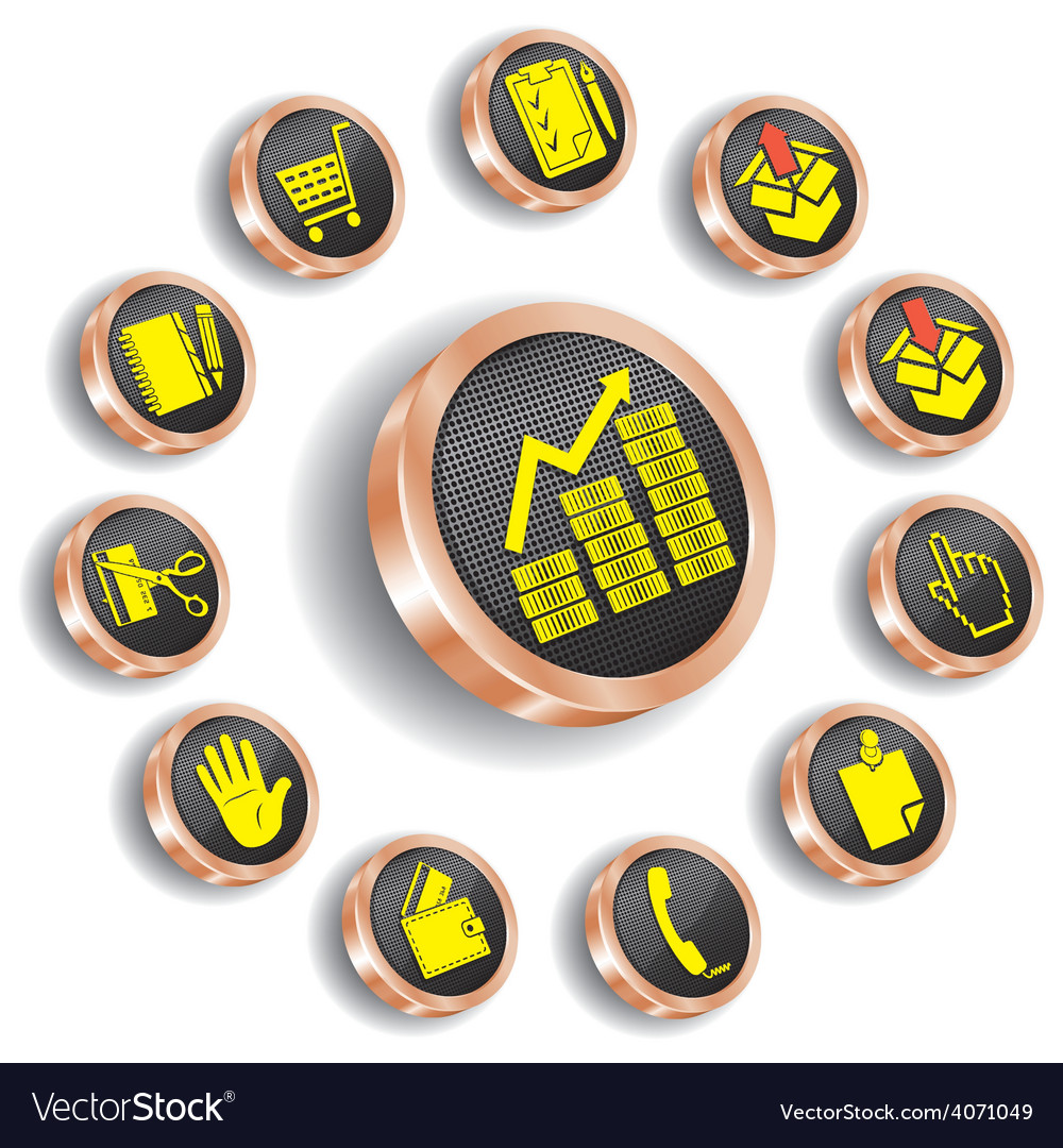 Bronze web icon set vector