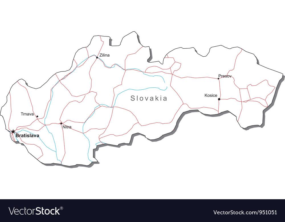 Slovakia black white map vector