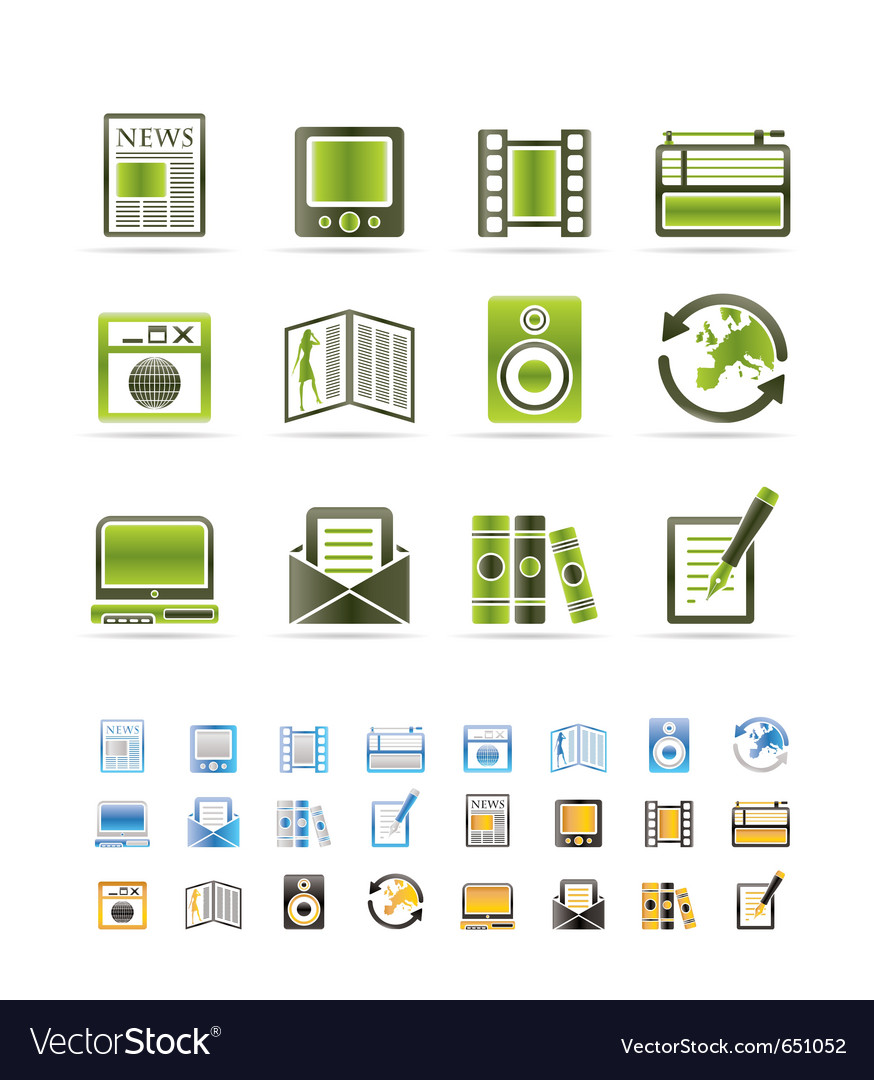 Media and information icons vector