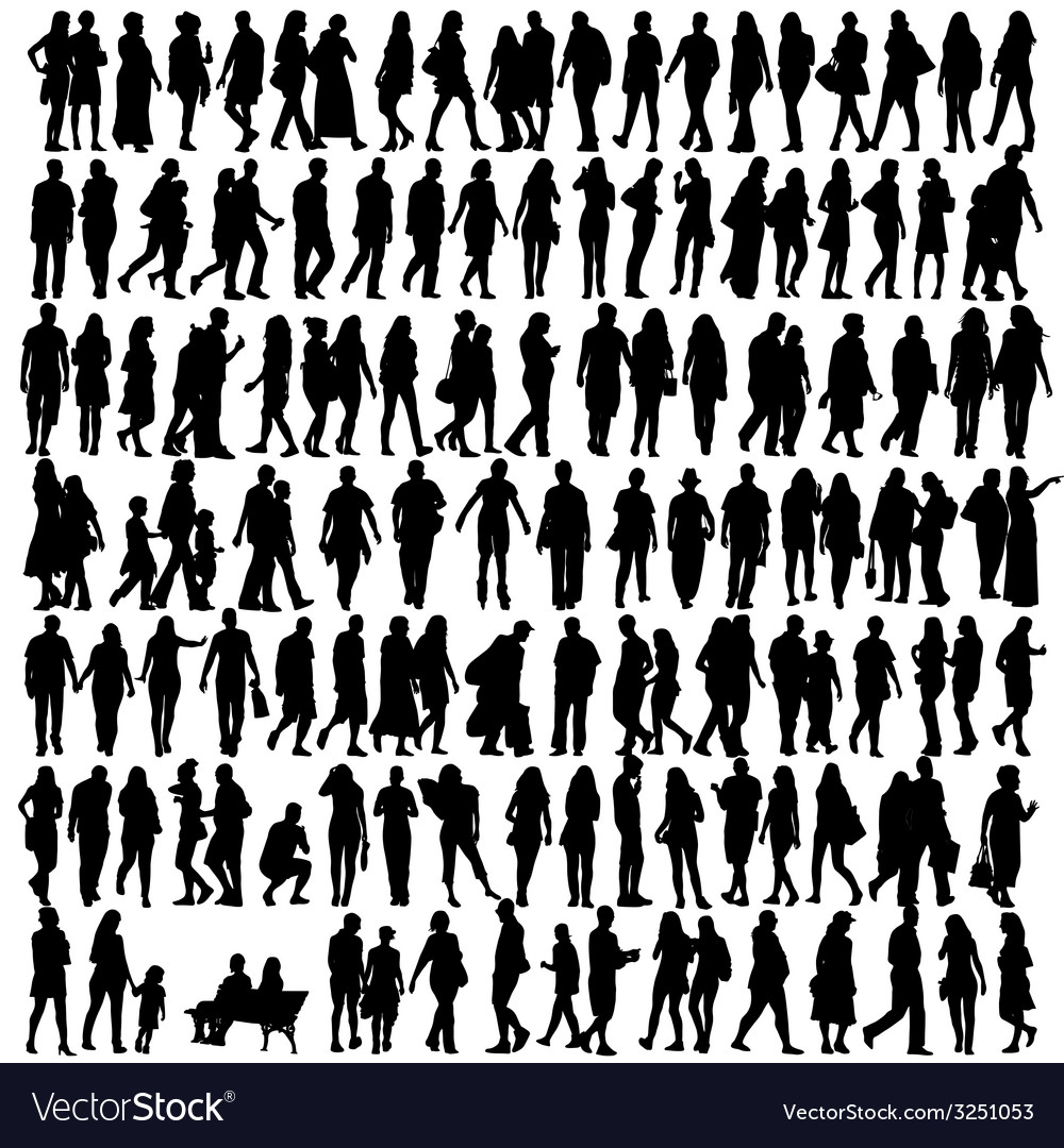 People silhouette black vector