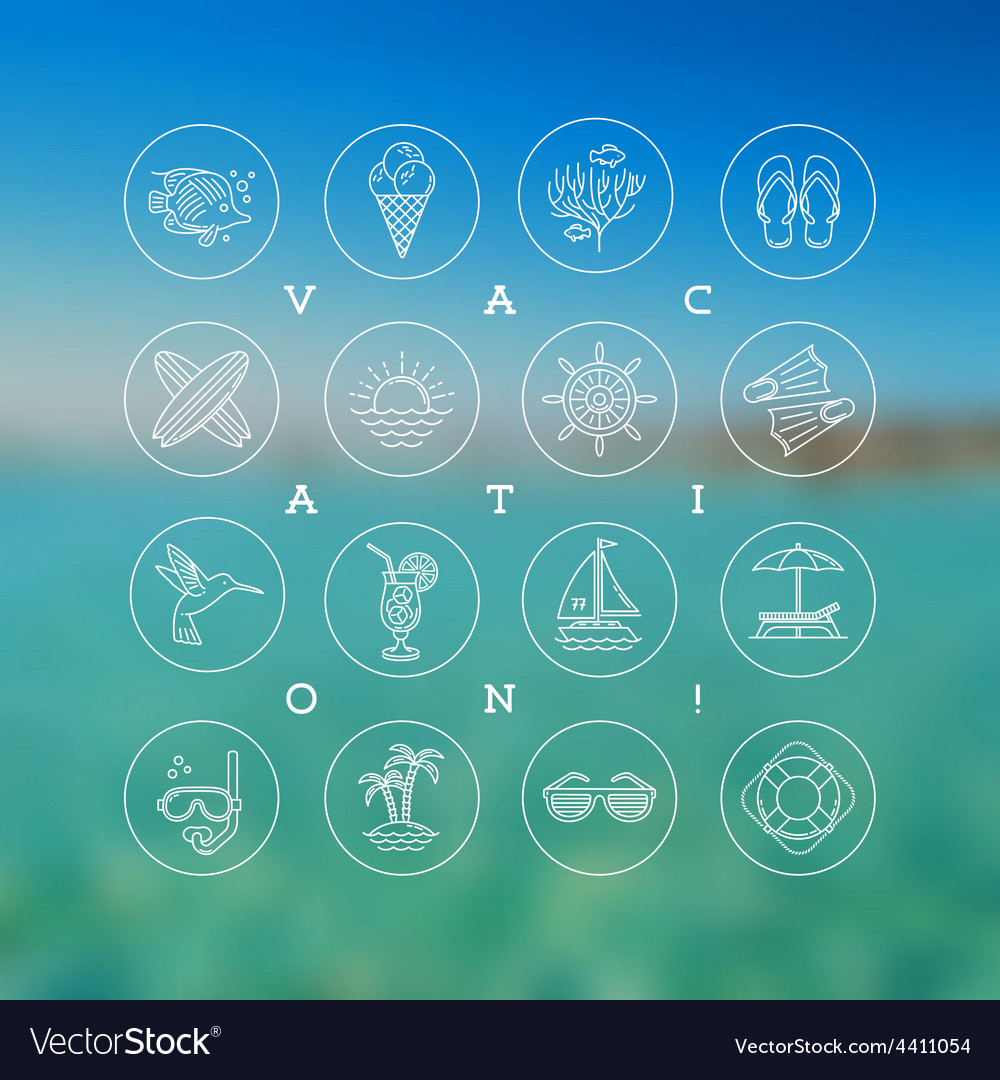 Line drawing icons summer vacation holidays and vector