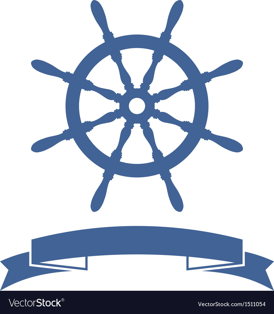 Ship wheel banner vector