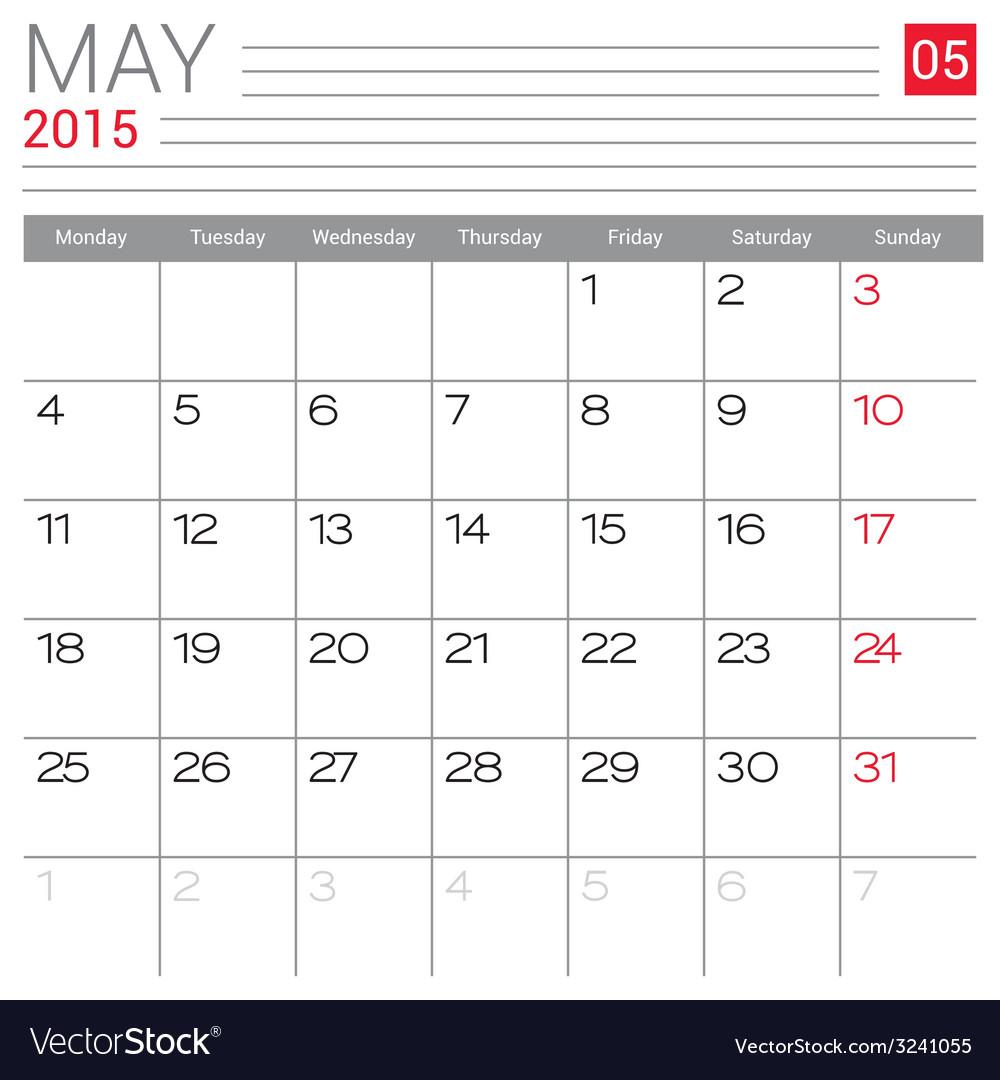 2015 may calendar page vector