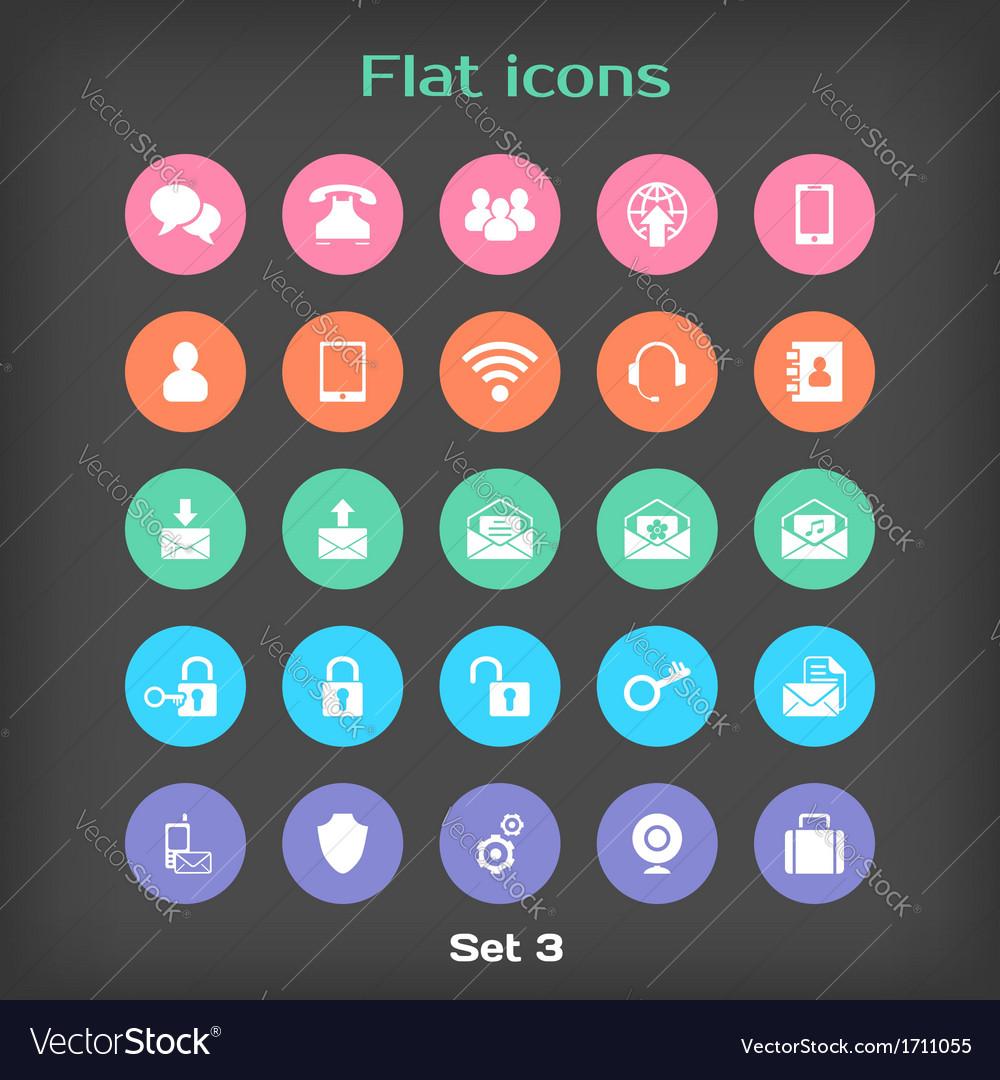 Round flat icon set 3 vector