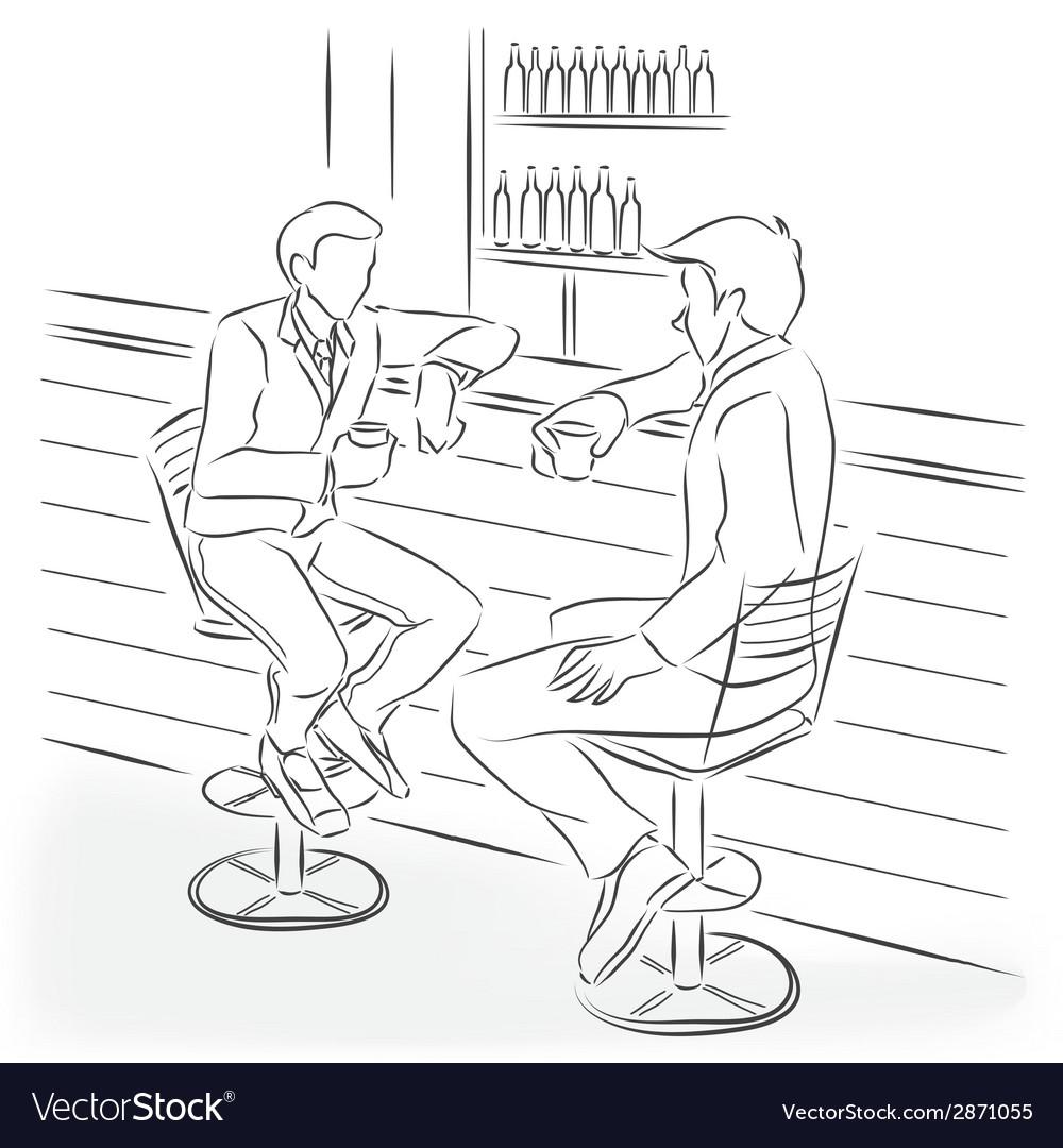Two men sit at a bar counter vector