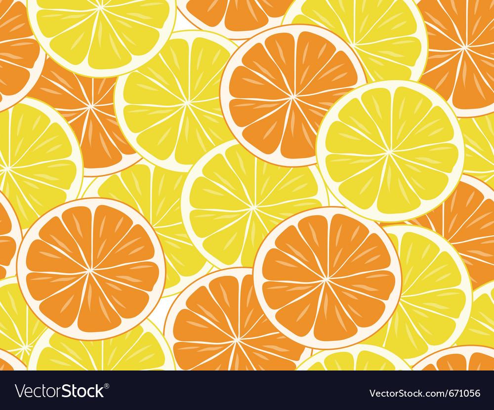 Seamless orange and lemon slices vector