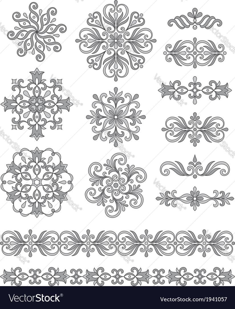 Ornamental elements borders and rosettes vector