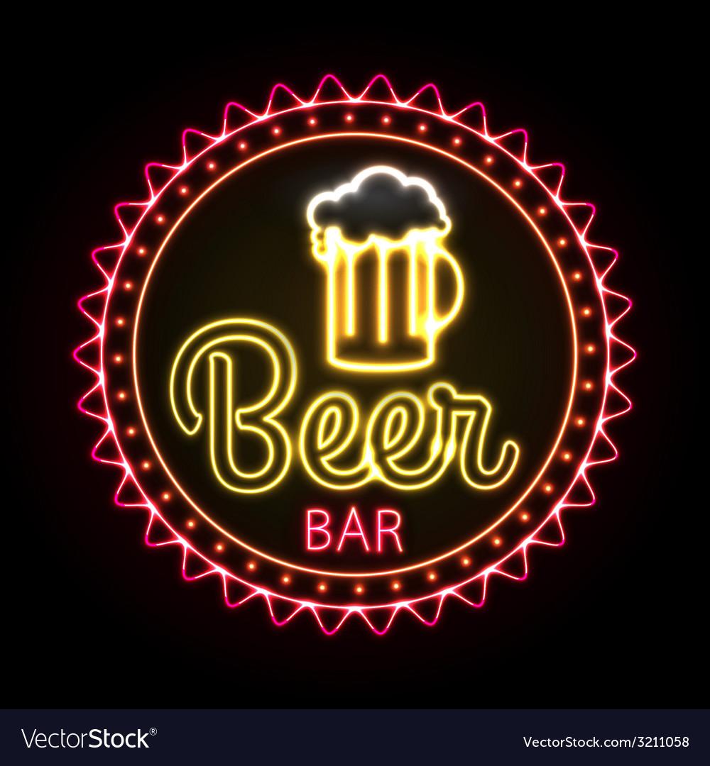 Neon sign beer bar vector