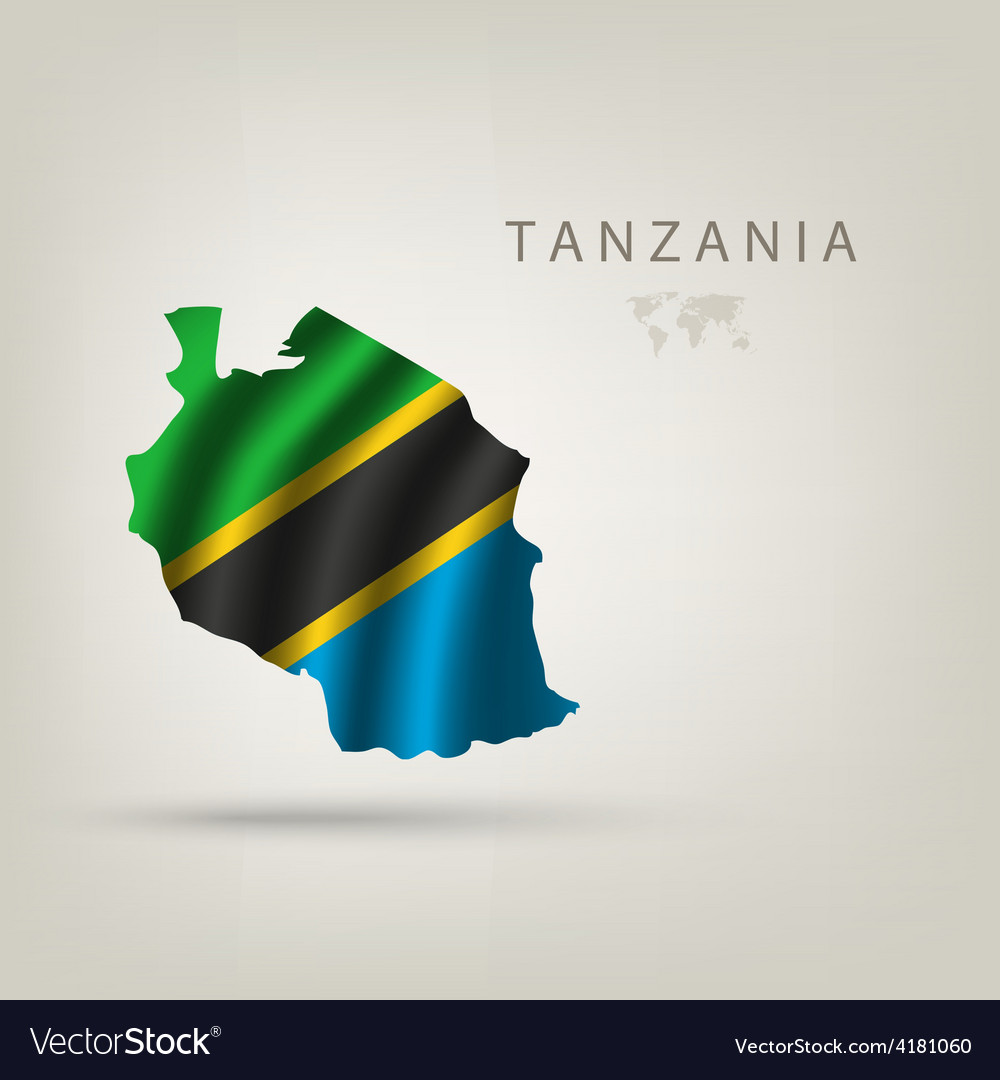 Flag of tanzania as a country with a shadow vector