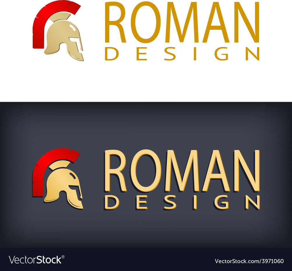 Greek or roman antique helmet logo vector