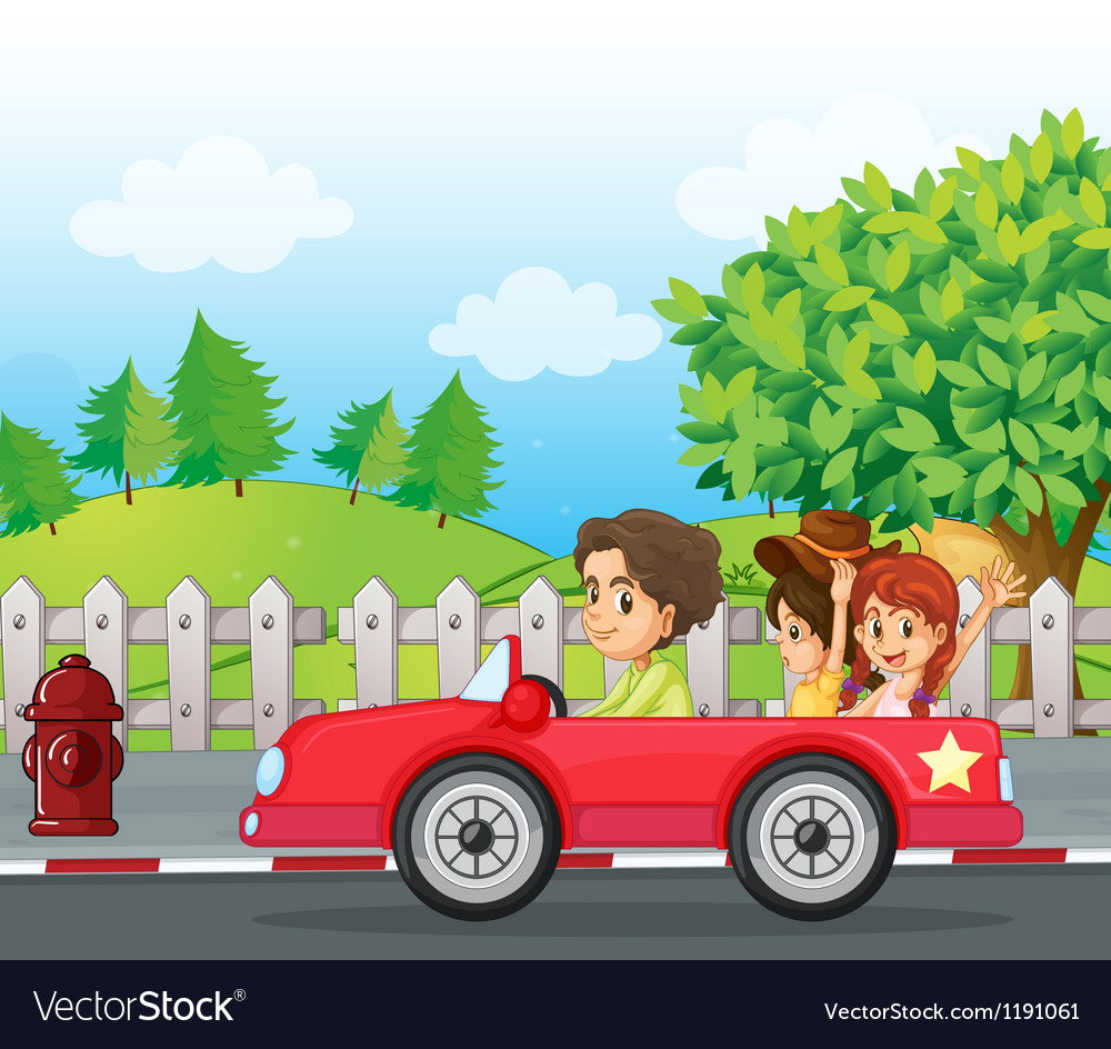 A young gentlemen driving a car with two ladies at vector