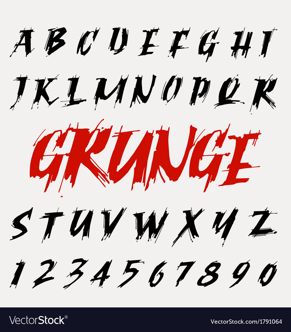 Hand drawn grunge font set vector