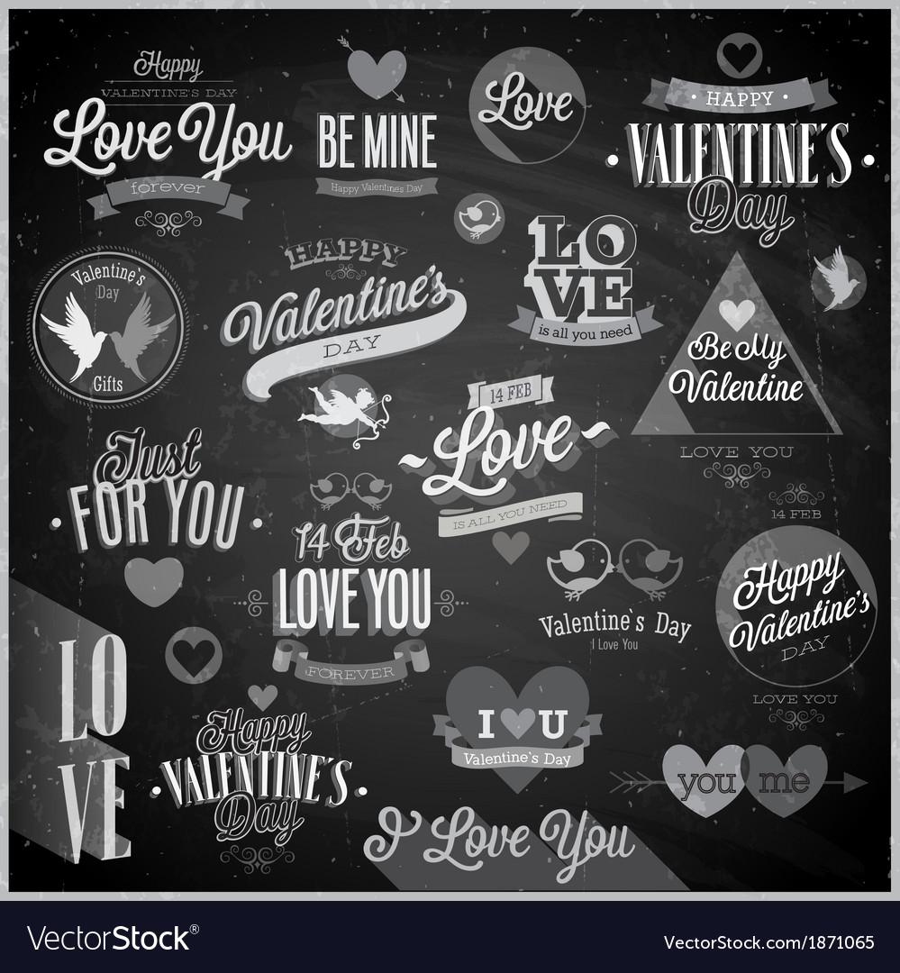 Valentine emblems chalk vector