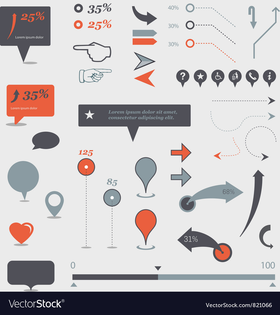 Map and graph markers vector
