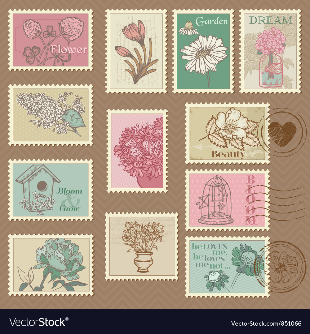 Retro flower postage stamps vector