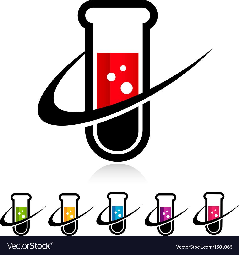 Swoosh test tube logo icons vector