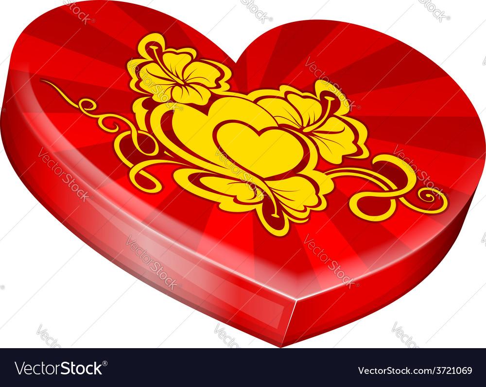 Hearts shape gift box vector