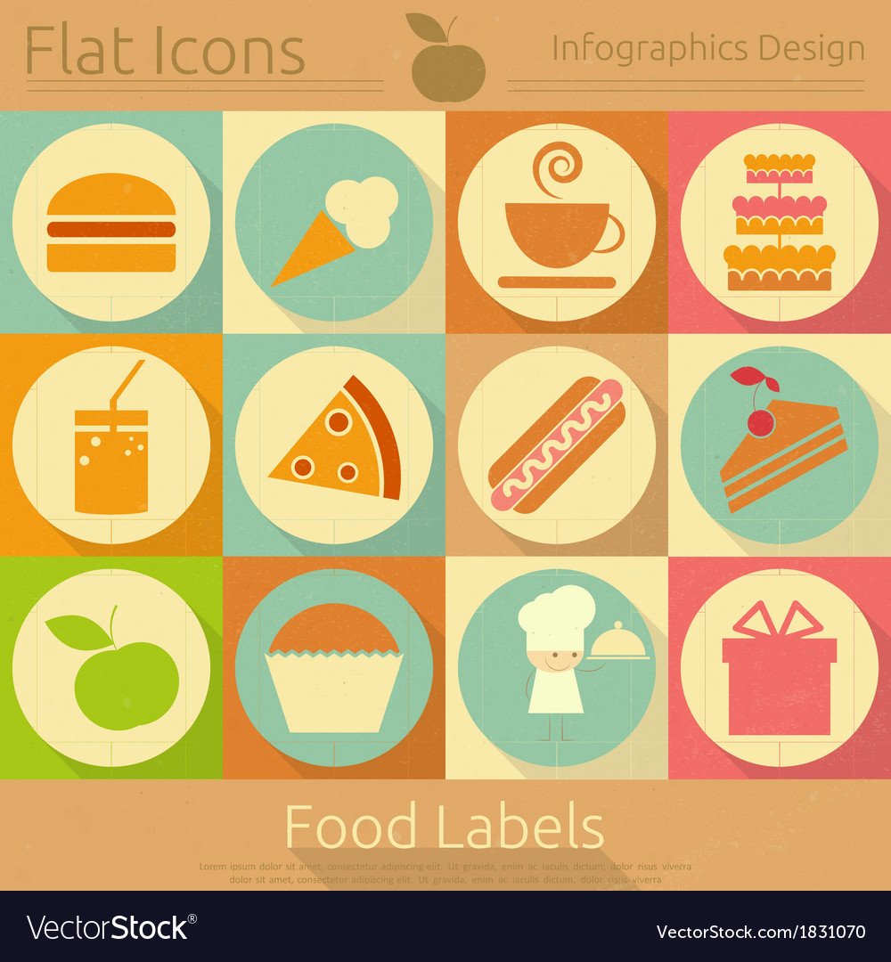 Food labels in retro style vector