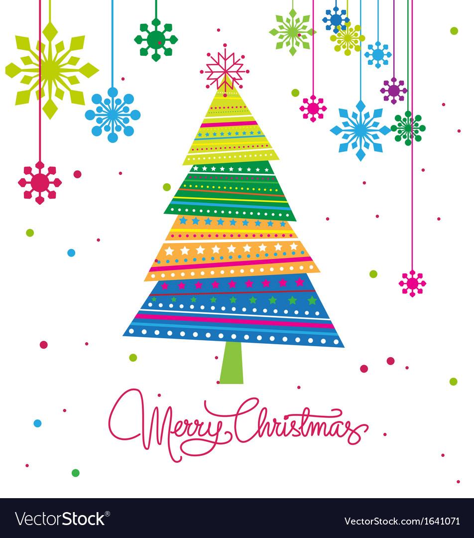 Christmas tree with ornaments xmas card vector